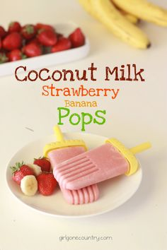 Coconut Milk Strawberry Banana Popsicles - (dairy free, low sugar, paleo)