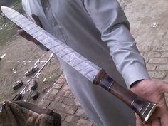 SSM!411 Custom Hand Made Damascus Steel Hunting Sword .