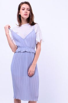 Two Piece Pleated Dress (Grey) S$ 39.00