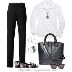 """""""Black and White for Spring"""" by fiftynotfrumpy on Polyvore"""