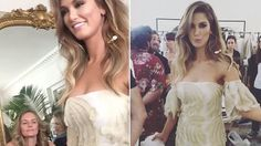 Model in the making! Delta Goodrem stuns in white and gold gown as she sachays down the runway at Carla Zampatti show