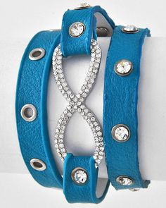 Rhodiumized / Clear Rhinestone / Turquoise Leatherette / Lead Compliant / 2 Size Snap Button / Infinity Wrap Bracelet