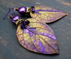 Purple Poison - wearable art polymer clay purple bronze pearl leaf rustic woodland earrings. by PreciousViolet on Etsy