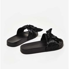 Dream Black Rubber Slider WIth Satin Bow ($26) ❤ liked on Polyvore featuring shoes, black shoes, rubber footwear, rubber shoes, black rubber shoes and kohl shoes