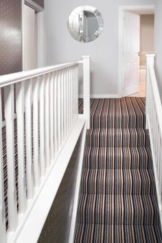Cost Of Carpet Runners For Stairs Referral: 8159947323 Best Carpet, Diy Carpet, Modern Carpet, Rugs On Carpet, Carpet Ideas, Grey Striped Carpet, Striped Carpets, White Carpet, Cost Of Carpet