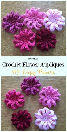 Loopy Flowers Free Crochet Pattern-Easy #Crochet #Flower Appliques Free Patterns