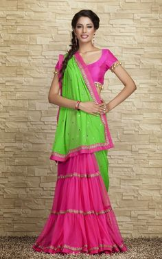 Green and Red Beautiful Saree