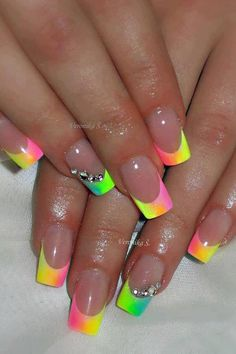 Nails french tip nails, french nail art, neon french manicure, french nail design Rainbow Nails, Neon Nails, Diy Nails, Neon Rainbow, Matte Nails Glitter, Neon Nail Art, Rainbow Swirl, Nail Nail, French Nail Art
