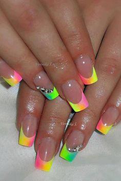 Nails #neon #french #paznokcie #zdobienie