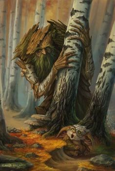 Treant Deciduous Forest f Druid Rabbit story Eastern Border Auka by baklaher on DeviantArt Forest Creatures, Woodland Creatures, Magical Creatures, Fantasy Forest, Fantasy World, Magic Forest, Nature Spirits, Wow Art, Fantasy Illustration