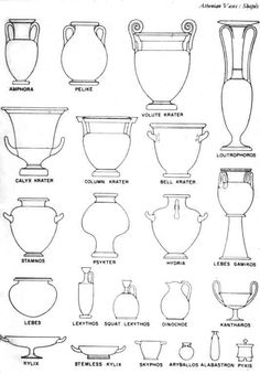 Here are a few types of Greek vases. The Athenians did a lot of sculpting and drawing and decorated these vases with many different picture of gods, land, animals, etc.
