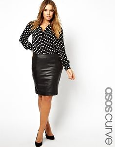 ASOS CURVE Pencil Skirt In Leather