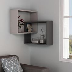wall shelves for living room wooden wall shelves wall shelf design modern wall shelves Tv Wall Design, Wall Shelves Design, Corner Shelves, Wall Shelving, Wooden Wall Shelves, Wall Shelves For Books, Wooden Shelf Design, Grey Shelves, Cube Shelves