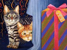 Dos gatos con un regalo de cumpleaños