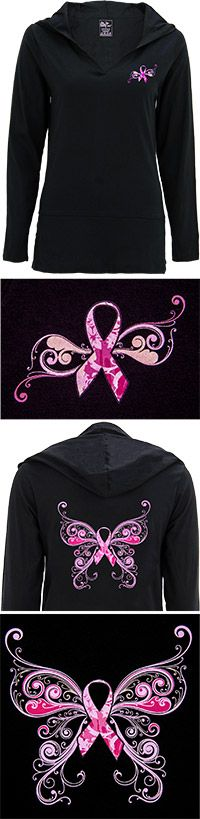 $24.95 Pink Ribbon Butterfly Hooded Tunic at The Breast Cancer Site ... I Want this !! ★ ★ Purchases here fund mammograms for women in need through the National Breast Cancer Foundation. ★ ★