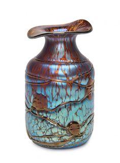 A Loetz Art Nouveau iridescent glass vase, Bohemian