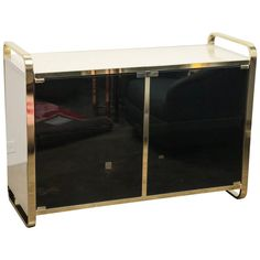 Design Institute for America Black and Cream Glass and Brass Bar | 1stdibs.com
