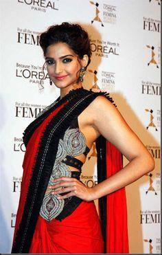 Bollywood Actress Sonam Kapoor hot in Red Saree