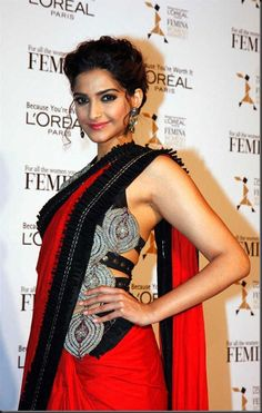 Bollywood Actress Sonam Kapoor hot in Red Saree