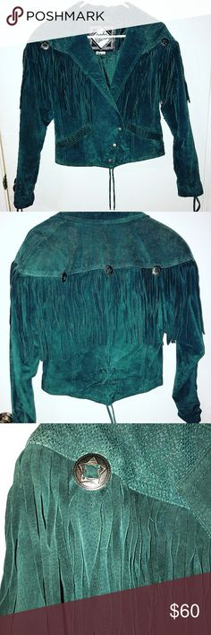 leather fringe jacket with fringe, snap buttons This is my latest and greatest find. Vintage 100% leather fringe jacket with fringe, snap buttons, Star buckles, and lace up detail in the most beautiful deep teal color. (Pairing this with your favorite black jeans)👌🏽 Jackets & Coats