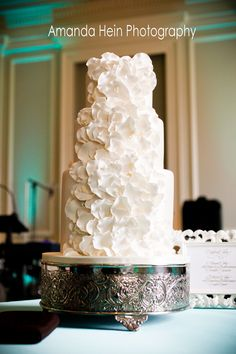 Amy Beck Cake Design - Chicago, IL - 3 Tier fondant wedding cake with pink sugar pedals and pearls - #amybeckcakedesign