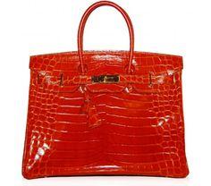 Hermes 35cm Orange Crocodile Birkin on sale for $68,000