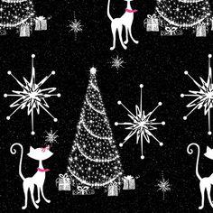 Retro christmas Kitty fabric by paragonstudios on Spoonflower - custom fabric