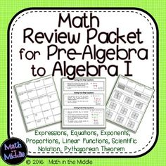 Looking for a good way to review core concepts with your pre-algebra students?  This math review packet covers some of the major topics taught in pre-algebra or 8th grade math.It covers:- Evaluating algebraic expressions using the order of operations- Distributive Property- Simplifying Algebraic Expressions- Solving 1-Step Equations- Solving 2-Step Equations- Solving Multi-Step Equations- Scientific Notation- Exponent Rules- Slope & Rate of Change- Graphing Linear Functions from Slope-Int...