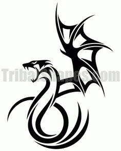 Tribal Dragon Tattoo Dragons, Black amp; White   tattoos picture tribal dragon tattoo