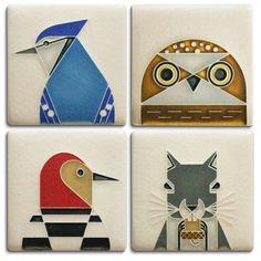 Front view sitting White ~ Mosaic Inserts CERAMIC CAT Craft Supplies Art