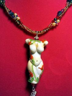 "Spring Goddess Lampwork Hand-Beaded 20"" Necklace - Lampwork - $79.99 on Bonanza"