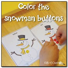 Free printable--Help teach your little ones colors by letting them color the snowman buttons to match the scarf and hat using pom poms, crayons, pens or stickers.  Fun!