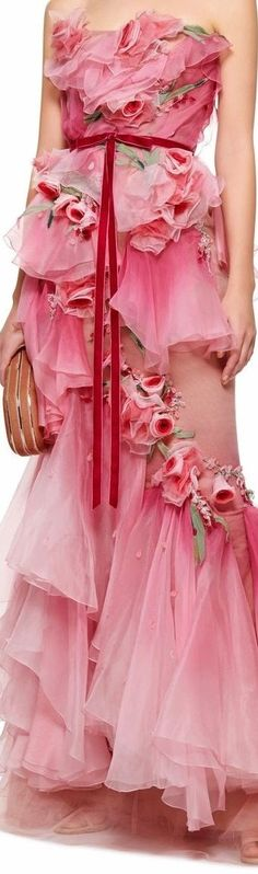 Floral Fashion, Pink Fashion, Red And Pink, Pretty In Pink, Pink Peacock, Fairytale Dress, Will And Grace, Peacock Wedding, Shades Of Red