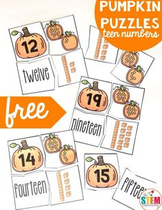 These puzzles are a great way to work on match numerical, counting, number words and ten blocks for teen numbers with kindergarten and first grade kids. Numbers Kindergarten, Math Numbers, Kindergarten Activities, Number Puzzles, Number Bonds, Kindergarten Classroom, Teaching Teen Numbers, Decomposing Numbers, Counting Activities
