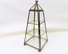 Vintage Brass Glass Display Case  Curio Display  by WhimzyThyme
