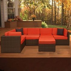 International Home�6-Piece All-Weather Wicker Patio Sectional Furniture Set with Ottoman and Solid Orange Cushions