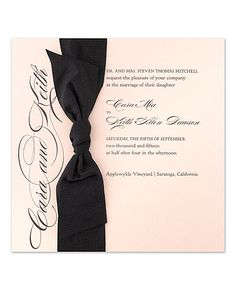 Blush pink invitation with chic black satin bow by Checkerboard