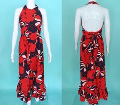 b796d7e2fb Hawaiian Dress 70 s Red And Navy Hibiscus Print Halter Style Maxi Hawaiian  Dress Tiki Dress Luau