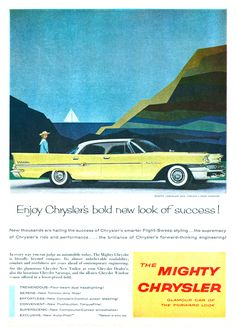 Retro car ad 1955 chrysler ad 1950s classic car advertisement the mighty chrysler 1958 fandeluxe