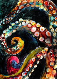 Tentacles in the Dark – A mixed media painting celebrating the changing colors of octopus! Getting up-close and personal with the tentacles. Charcoal, watercolor and oil pastel. By Crystal Smith – prints available.