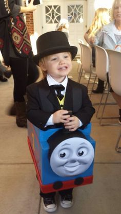 thomas the tank engine and sir topham hatt diy costume made from diaper box - Diaper Costume Halloween