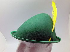 Oktoberfest Party Hat Green with Yellow Feather (Small) : German Gift Outlet, Affordable German Gifts, German Beer Steins, Oktoberfest Supplies