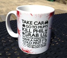 Shaun of the Dead Quote Blood Splats ceramic mugs & coffee cups