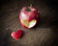 Kitchen Food Apple Red Heart Art Photograph 8x10 Still Life Photography Food Photography.