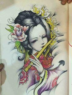 กิมโนTattoo Japanese Tattoo Art, Japanese Tattoo Designs, Japanese Art, Tatuajes Tattoos, Leg Tattoos, Sleeve Tattoos, P Tattoo, Back Tattoo, Tattoo Flash Sheet