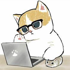 Cute Disney Drawings, Cute Animal Drawings, Kawaii Drawings, Kitten Cartoon, Cute Cartoon, Cute Little Kittens, Cute Cats, Chibi Dog, Kitten Drawing