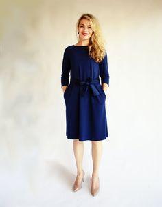 Dark blue a line dress/ Three quarter sleeve dress/ by ADORIQUE