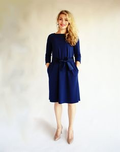 Dark blue dress a line dress blue three quarter sleeve navy dress with pocket casual dress midi dress casual autumn dress maternity dress