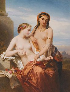 Mythology Painting -  The Orient And The Occident by Nicaise de Keyser