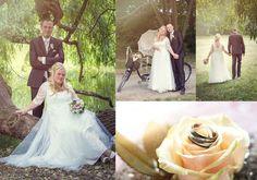 Hochzeitspaar auf dem Tandem